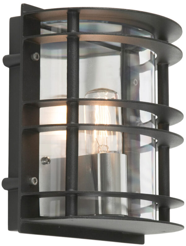 Norlys Stockholm Flush Outdoor Wall Lantern Black Clear Art Deco Style