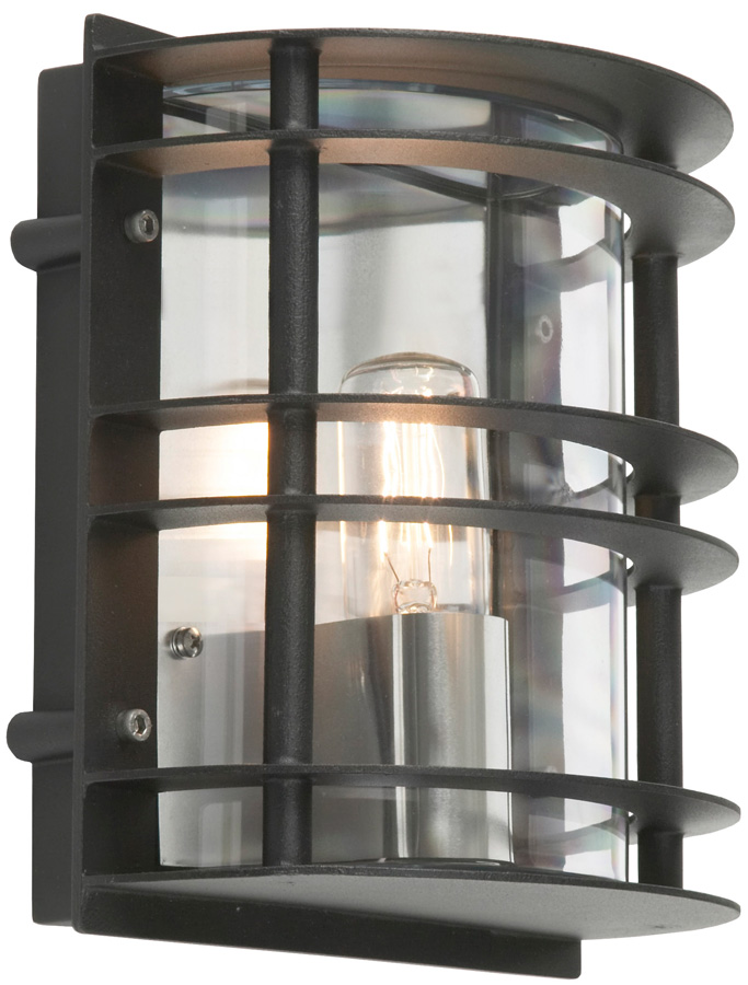 Stockholm Art Deco Flush Clear Outdoor Wall Lantern Black St Flu E27 Blk C