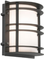Stockholm Art Deco Flush Opal Outdoor Wall Lantern Black