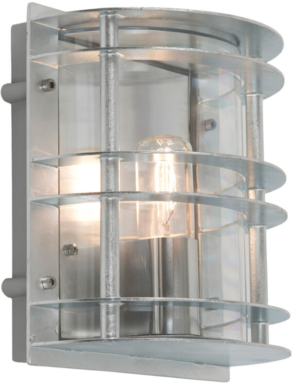 Norlys Stockholm Outdoor Wall Lantern Galvanised Clear Art Deco Style