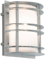 Stockholm Art Deco Flush Opal Outdoor Wall Lantern Galvanised