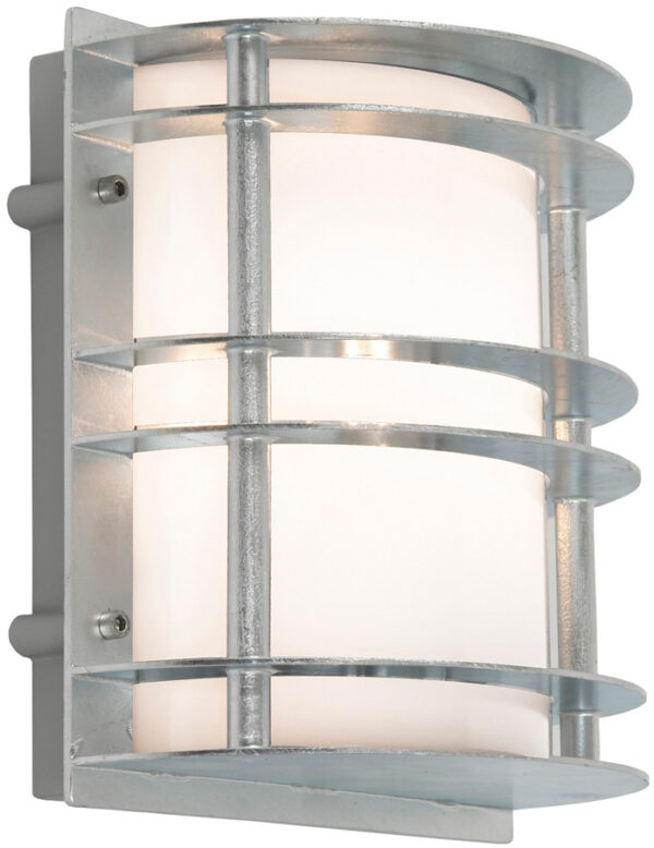 Norlys Stockholm Outdoor Wall Lantern Galvanised Opal Art Deco Style