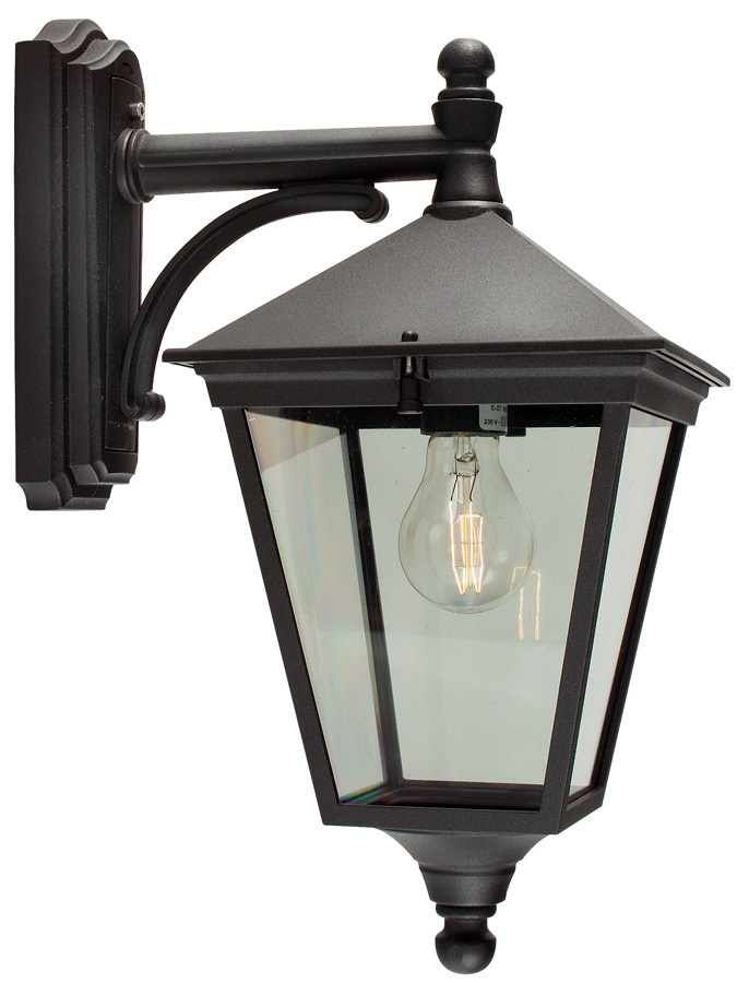 Norlys Turin Traditional Black Downward Facing Outdoor Wall Lantern T2/BLK