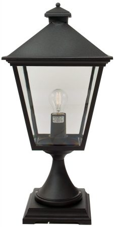 Norlys Turin 1 Light Outdoor Pedestal Lantern Black Traditional