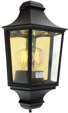 Norlys Turin 1 Light Flush Outdoor Wall Half Lantern Black