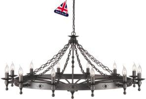 Elstead Warwick Large Graphite Iron Work 12 Light Chandelier