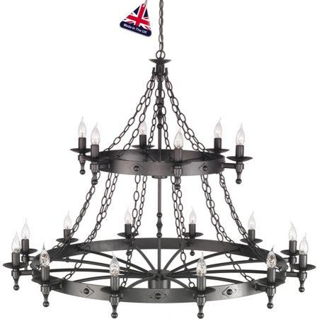 Elstead Warwick Massive Graphite Iron Work 18 Light Chandelier