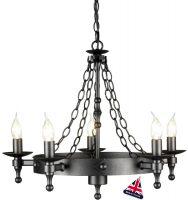 Warwick Medieval Graphite Iron Work 5 Light Chandelier UK Made