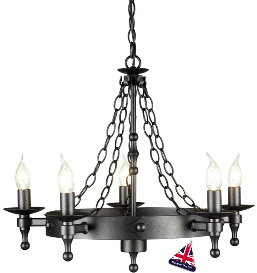 Warwick medieval graphite iron work 5 light chandelier uk made wr5 warwick medieval graphite iron work 5 light chandelier uk made aloadofball Images