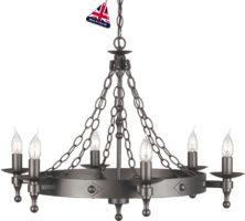 Warwick Medieval Graphite Iron Work 6 Light Chandelier UK Made