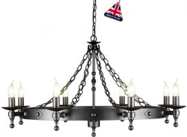 Warwick Medieval Graphite Iron Work 8 Light Chandelier UK Made