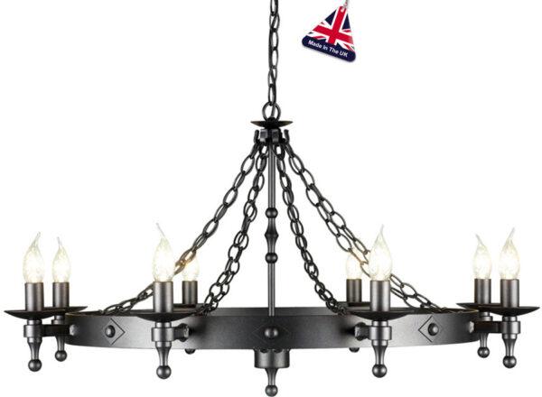 Elstead Warwick Gothic 8 Light Large Ironwork Chandelier Graphite