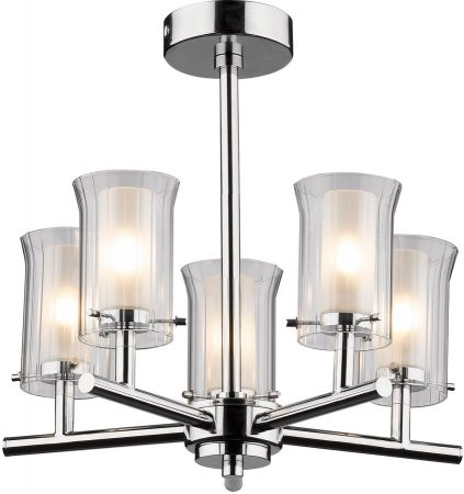 Dar Elba Modern 5 Light Semi Flush Bathroom Light Chrome
