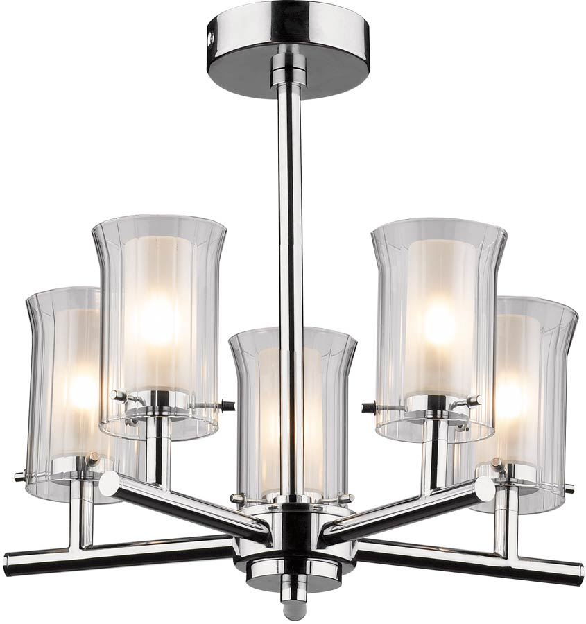 Modern Vanity Lighting Chrome : Dar Elba Modern 5 Light Semi Flush Bathroom Light Chrome ELB0550
