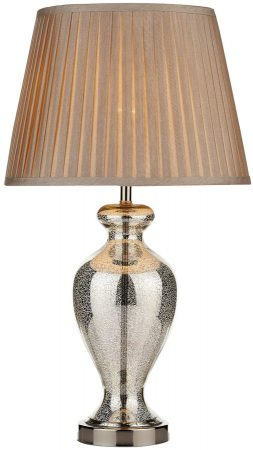 Dar Elizabeth Antique Silver Glass Table Lamp And Taupe Shade