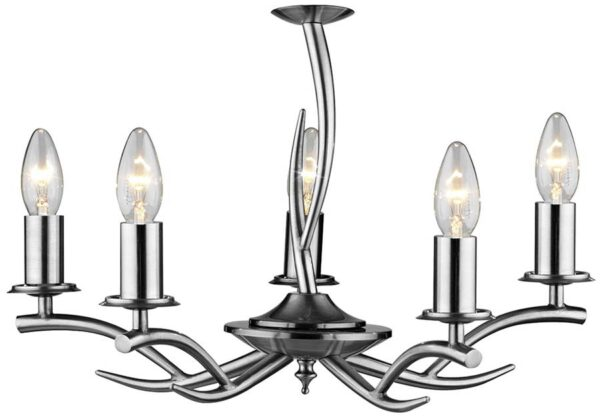 Dar Elka Modern Dual Mount 5 Arm Chandelier Satin Chrome