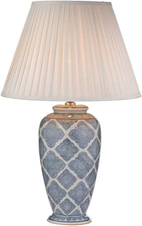 Dar Ely Traditional Blue And Cream Table Lamp Base