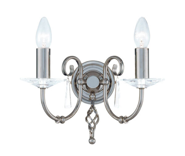 Elstead Aegean Hand Forged Polished Nickel 2 Lamp Wall Light