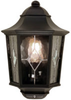 Norfolk Black Finish Traditional Outdoor Half Wall Lantern