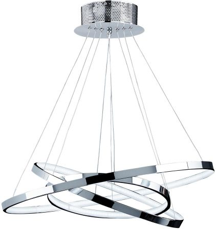 Kline Chrome 3 Ring 36w Warm White LED Pendant Light