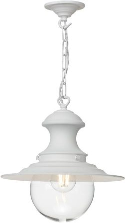 David Hunt Station Small Industrial Style White Pendant Light