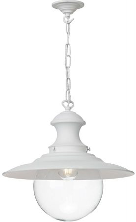 David Hunt Station Large Industrial Style White Pendant Light