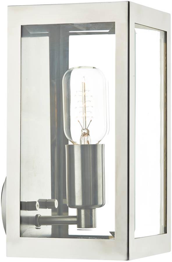 dar era small 1 light outdoor box wall lantern stainless steel era0744