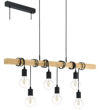 Townshend 6 Light Wooden Bar Pendant Ceiling Light Retro Style