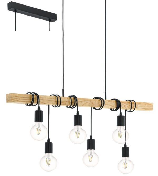 Townshend 6 Light Wooden Bar Pendant Ceiling Light Retro Style