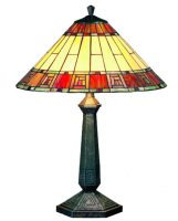 Large Egyptian Style 2 Lamp Tiffany Table Light