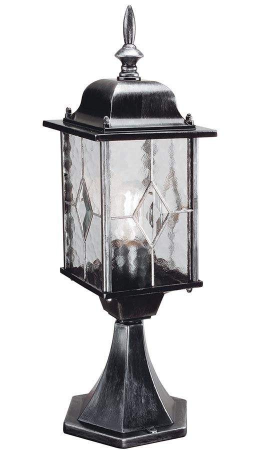 Elstead Wexford traditional outdoor post top lantern in black & silver finish