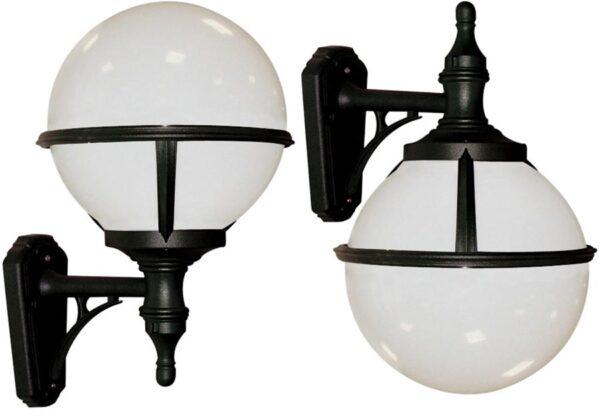 Glenbeigh Corrosion Proof Opal Globe Outdoor Wall Light Black