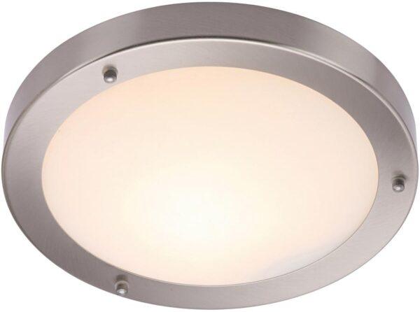 Portico Flush IP44 Bathroom Ceiling Light Satin Silver