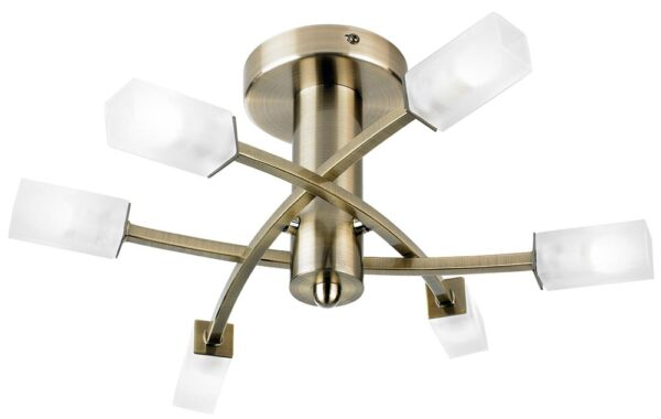 Havana Modern Antique Brass Semi Flush 6 Light Fitting