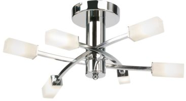 Havana Modern Polished Chrome Semi Flush 6 Light Fitting
