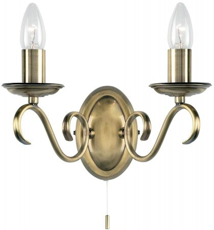 Bernice Scrolled Arm Switched Double Wall Light Antique Brass