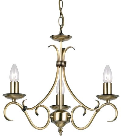 Bernice Traditional 3 Light Scrolled Arm Chandelier Antique Brass
