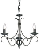 Bernice Traditional 3 Light Scrolled Arm Chandelier Antique Silver