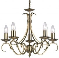 Bernice Traditional 5 Light Scrolled Arm Chandelier Antique Brass