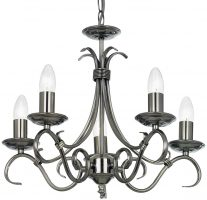 Bernice Traditional 5 Light Scrolled Arm Chandelier Antique Silver