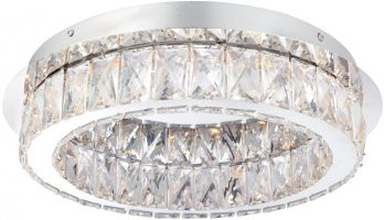 Swayze Flush Chrome 16w LED Light With Clear Faceted Drops