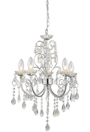 Tabitha 5 Light Bathroom Chandelier Polished Chrome Crystal Drops
