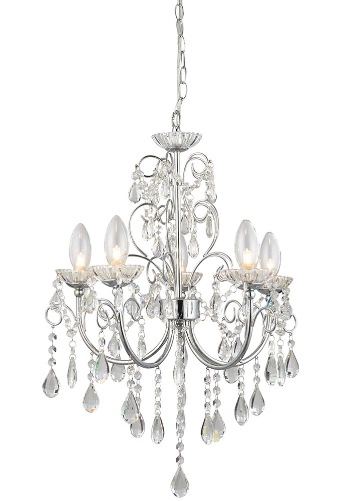 Chrome 5 light Crystal Chandelier
