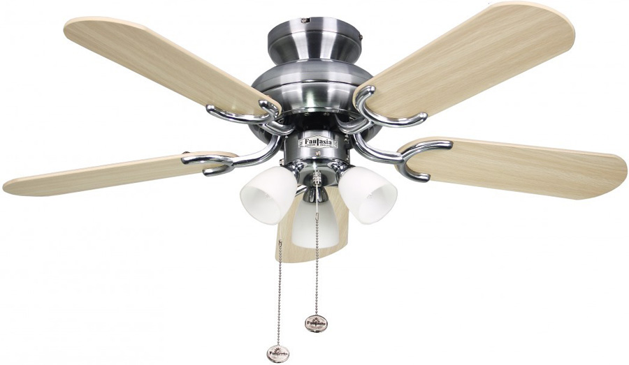 Amalfi 36 Inch Fantasia Ceiling Fan With Lights Stainless