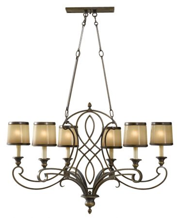 Feiss Justine Astral Bronze 6 Light Island Chandelier Oak Glass Shades
