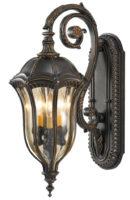 Feiss Baton Rouge Walnut 3 Light Traditional Outdoor Lantern Medium