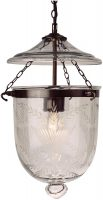 Small Antique Finish 1 Light Fern Glass Georgian Lantern