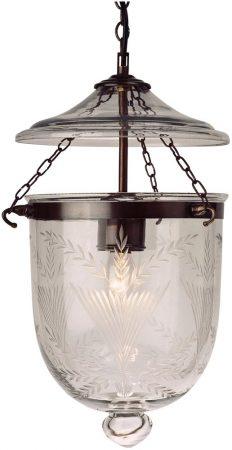 Small Antique Finish 1 Light Fern Glass Georgian Lantern