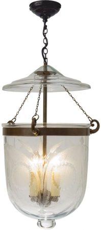 Large Antique Finish 3 Light Fern Glass Georgian Lantern