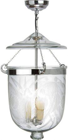 Large Polished Chrome 3 Light Fern Glass Georgian Lantern